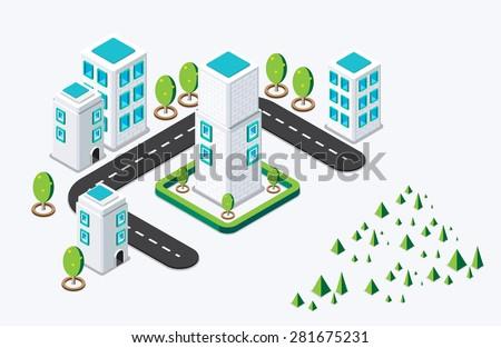 Isometric city building. vector illustration - stock vector