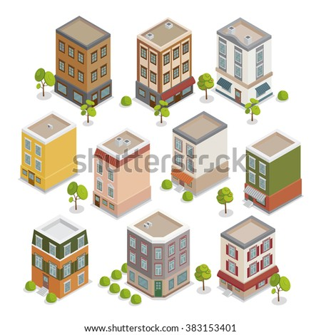 Isometric City Buildings Set. European Houses with Trees and Plants. Vector illustration - stock vector