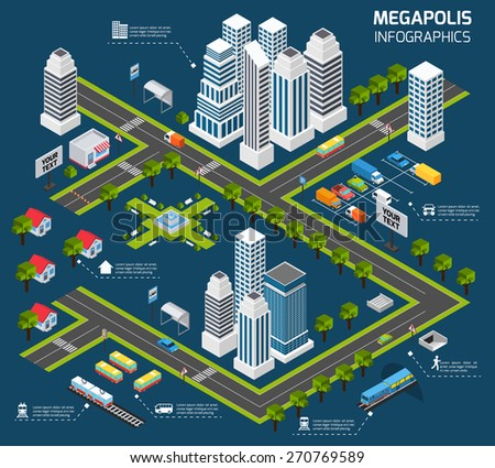 Isometric city concept with 3d skyscraper office buildings and street transport vector illustration - stock vector