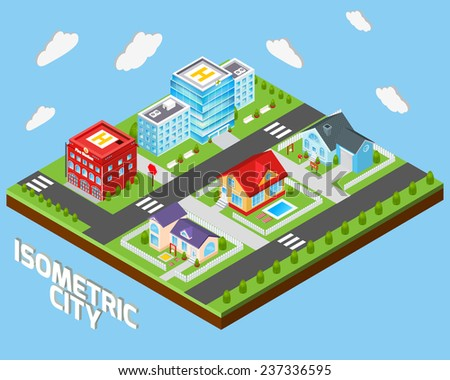 Isometric city concept with private houses and government buildings decorative icons set vector illustration