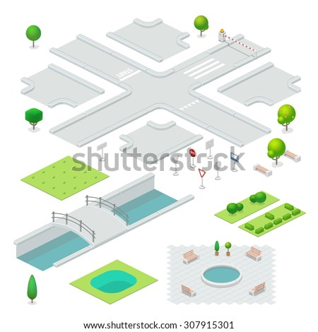 Isometric city elements. - stock vector