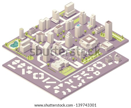 Isometric city map creation kit - stock vector
