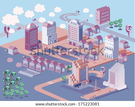 Isometric city map creation kit on vintage color - stock vector