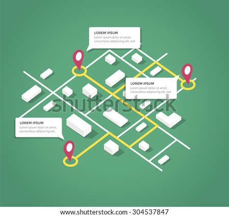 Isometric City Map Design Elements Vector Stock Photo (Photo