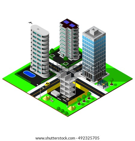 Isometric city. Map includes beach, river, bridges, business center, offices, hotel, amusement park, cars, parkings, markings, constractionand skyscrapers. 3d map icon.