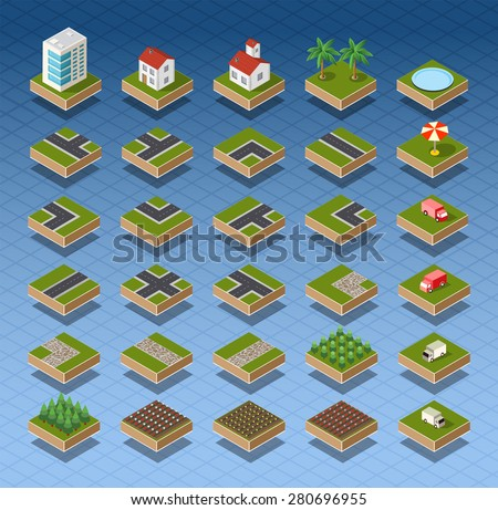 Isometric city map road, trees and building home elements set isolated vector illustration. - stock vector