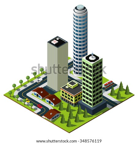 Isometric city map. Set of skyscrapers in downtown. Isometric city.