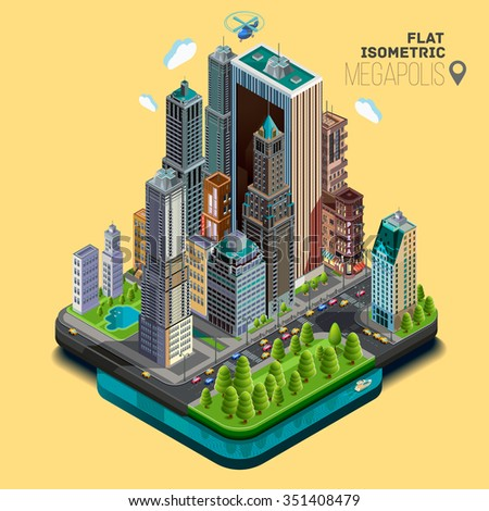 Isometric city,megapolis concept office buildings, parks, cafe, landmarks, skyscraper, street, bridge and river. Vector 3d top view - stock vector