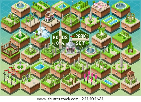 Isometric City Park Furniture. Roads Set Flat 3D City Map Elements Infographic. Path Game Tiles Collection Vector Illustration. Playground Rural Route through Spring Green Grass. Bucolic Landscape. - stock vector