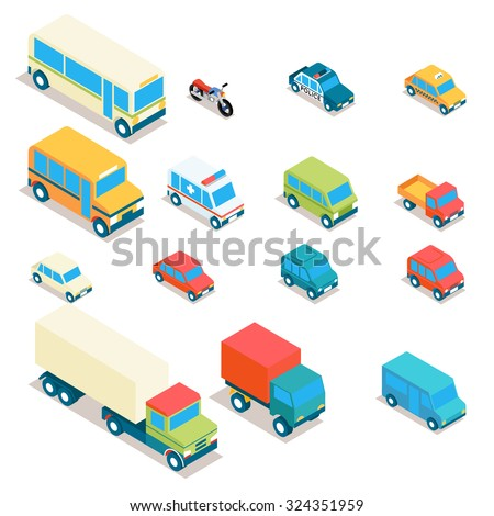 Isometric city transport and trucks vector icons. Cars, minibus, bus, jeep, police car, taxi, ambulance 3d set. Transportation illustration, vehicle design - stock vector