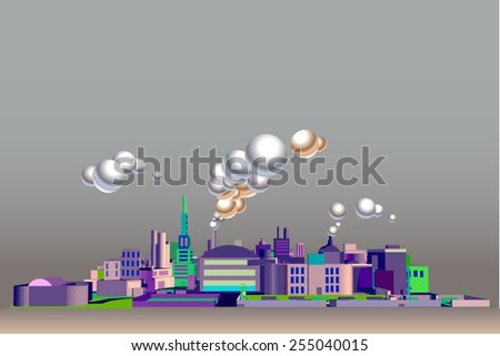 isometric city vector. front view , skyscrapers, factories, and cloud - stock vector