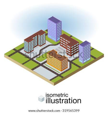 Isometric city with 3D colorful buildings and roads. Vector illustration. - stock vector