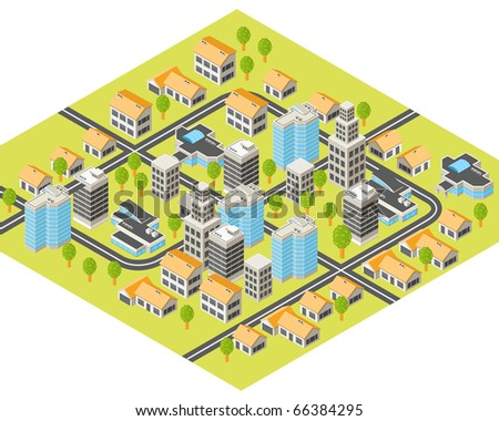 Isometric city with downtown and  suburbs, buildings and roads - stock vector