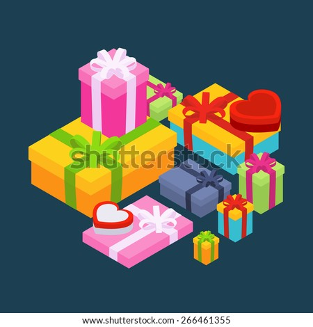 Isometric colored gift boxes against the dark-blue background. Illustration suitable for advertising and promotion - stock vector