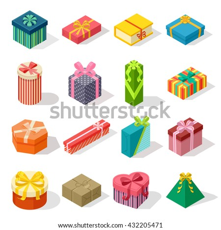 Isometric colored gift boxes and present isometric gift box set. Illustration isometric gift box celebration paper box and vector isometric gift box design. Isometric gift box collection. - stock vector