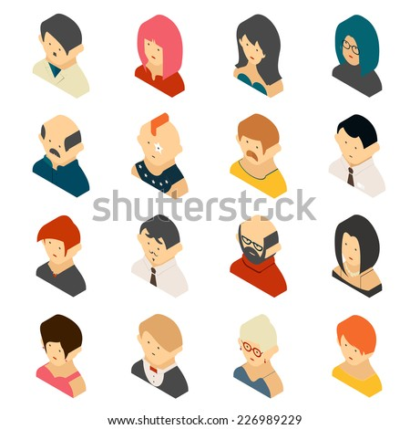 Isometric Colored User Icons  Isolated on White Background. Men and women, boys and girls in 3d - stock vector