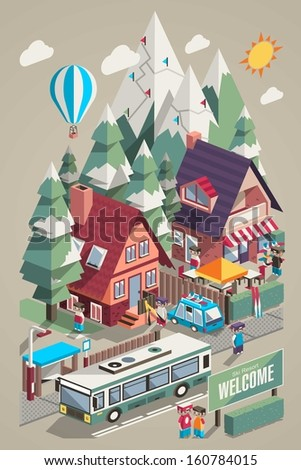Isometric colorful vector background with ski resort and mountains - stock vector