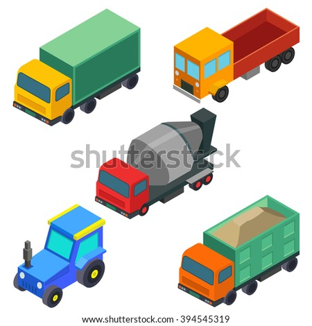 Isometric construction machines set 2. Icon vector illustration.  - stock vector