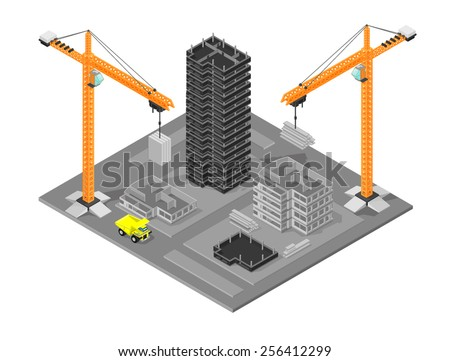 Isometric construction site with cranes and buildings. Isometric construction site. Isometric Building site. - stock vector