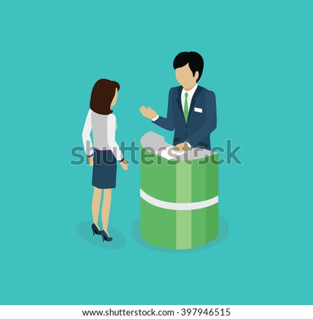 Isometric consultation icon isolated design flat. 3D business consulting services, consulting icon, business support service for businessman, consultant professional vector - stock vector