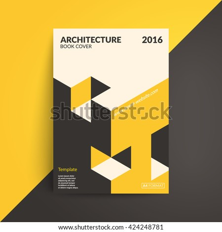Isometric cover design. Architecture book. A4 format template for brochure,poster,flyer etc. - stock vector