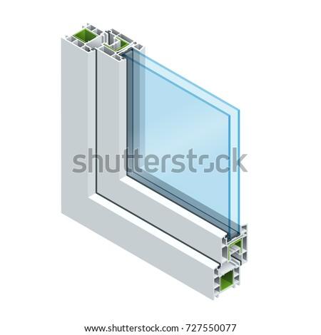 Isometric crosssection diagram double glazed window stock for Pvc double glazing