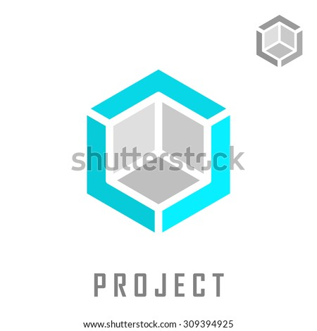 Isometric cube construction, 3d logo vector, structure concept, isolated on white background, eps 8 - stock vector