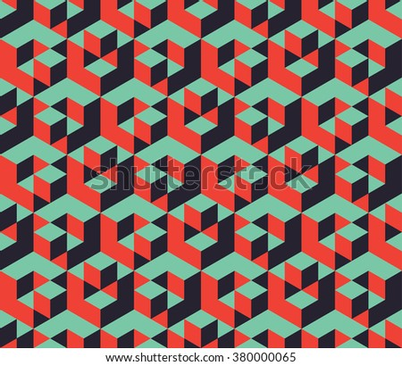 isometric cubes pattern, abstract background - stock vector