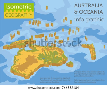 Isometric D Australia Oceania Physical Map Stock Vector - Australia physical map