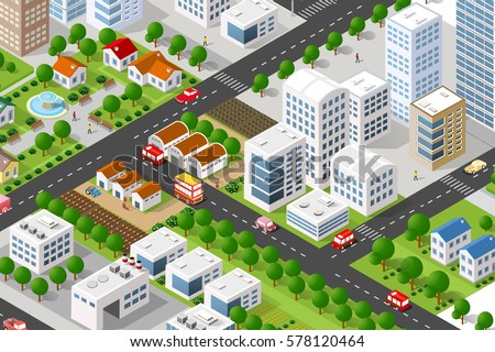 Isometric 3 d building city concept private stock vector for 3d house building games online