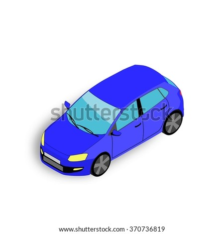 isometric 3D car. Vector illustration.
