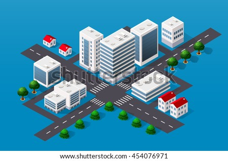 Isometric 3D cityscape view of the top of the house and street trees - stock vector