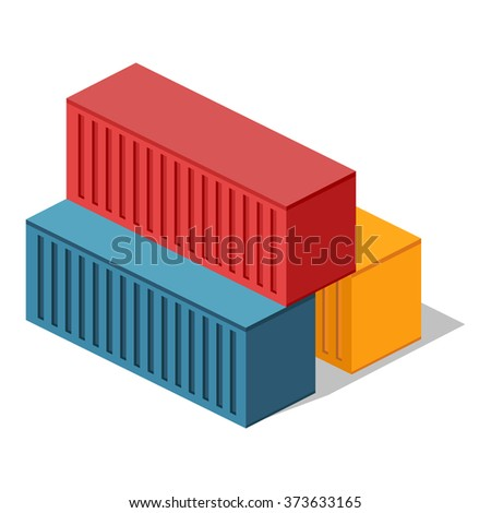 Isometric 3d container delivery. Cargo container, cargo and container, freight industry, export container, industrial comtainer, storage goods, delivery container, import heavy container illustration - stock vector