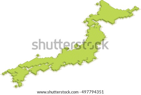 isometric 3D map of Japan isolated vector country blocks