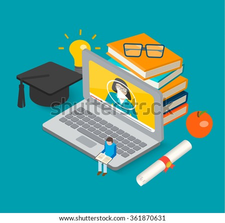 Isometric 3d online education concept with books, laptop, graduation hat and diploma, little man reading book, vector illustration. Learning and science, tutorials and training courses - stock vector