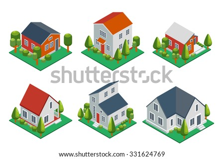 Isometric 3d private house, rural buildings and cottages icons set. Architecture real estate, property and home, vector illustration - stock vector
