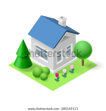 Isometric 3d small home  with flowers and trees - stock vector