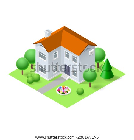 Isometric 3d small home with green grass and trees - stock vector