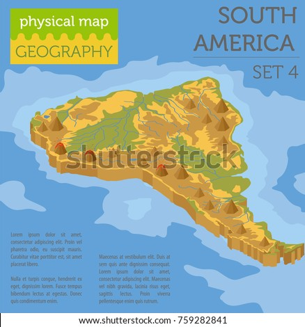 Isometric D South America Physical Map Stock Vector - South america map physical
