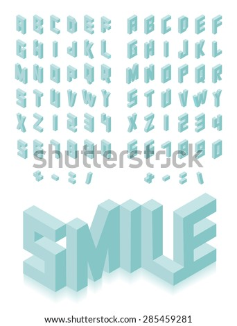 Isometric 3d type font set isolated background illustration. EPS10 vector file. - stock vector
