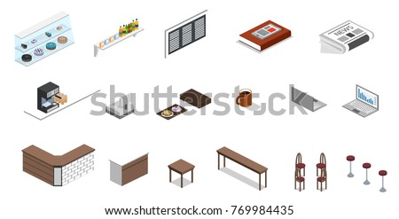 isometric office furniture vector collection. Isometric 3D Vector Illustration Set Of Object For Making Coffee Shop Or Canteen Office Furniture Collection