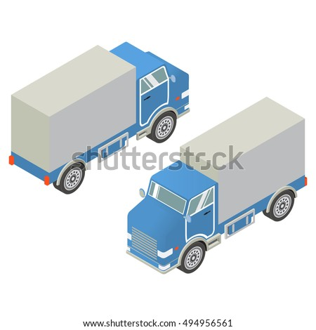 Isometric 3d vector with the image of  cargo trucks logistic on delivery and transportation of various freights and goods. An element of design of the websites on sale and transportation of furniture.