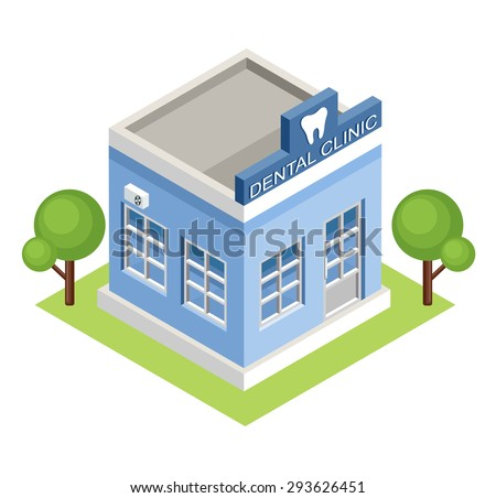 Isometric  dental clinic. Vector - stock vector
