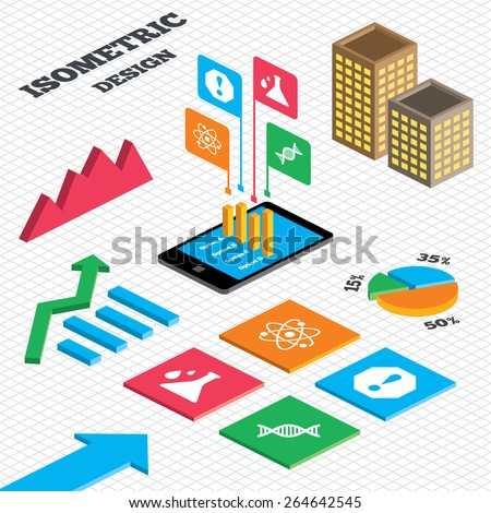 Isometric design. Graph and pie chart. Attention and DNA icons. Chemistry flask sign. Atom symbol. Tall city buildings with windows. Vector - stock vector