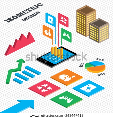 Isometric design. Graph and pie chart. Bowling and Casino icons. Video game joystick and playing card with puzzles pieces symbols. Entertainment signs. Tall city buildings with windows. Vector - stock vector