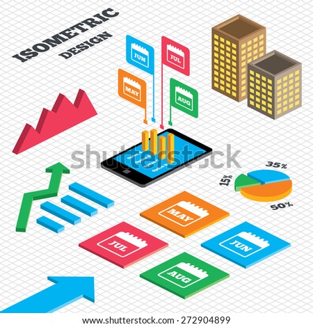 Isometric design. Graph and pie chart. Calendar icons. May, June, July and August month symbols. Date or event reminder sign. Tall city buildings with windows. Vector