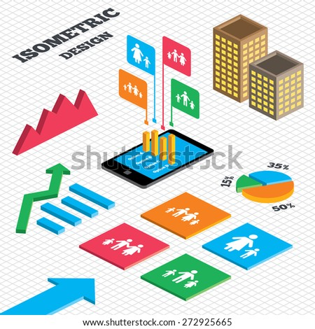 Isometric design. Graph and pie chart. Family with two children icon. Parents and kids symbols. One-parent family signs. Mother and father divorce. Tall city buildings with windows. Vector - stock vector