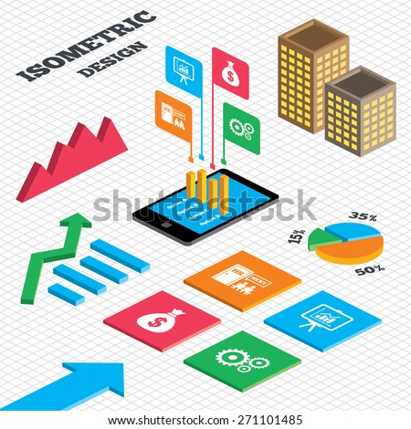Isometric design. Graph and pie chart. Human resources icons. Presentation board with charts signs. Money bag and gear symbols. Man at the door. Tall city buildings with windows. Vector - stock vector