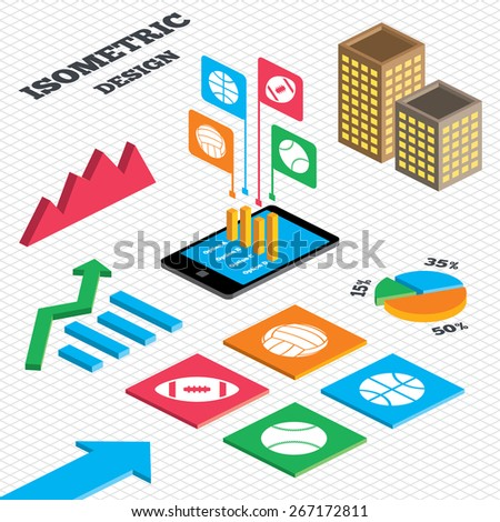 Isometric design. Graph and pie chart. Sport balls icons. Volleyball, Basketball, Baseball and American football signs. Team sport games. Tall city buildings with windows. Vector - stock vector