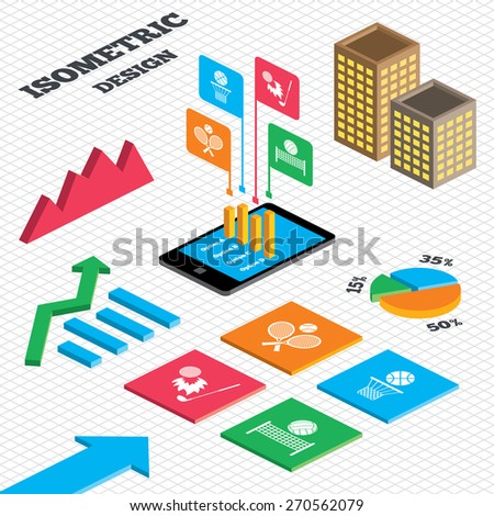 Isometric design. Graph and pie chart. Tennis rackets with ball. Basketball basket. Volleyball net with ball. Golf fireball sign. Sport icons. Tall city buildings with windows. Vector - stock vector